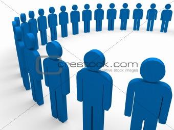 3d team circle blue