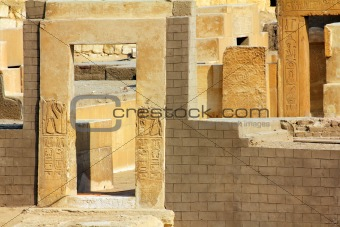 old building with egypt hieroglyphics
