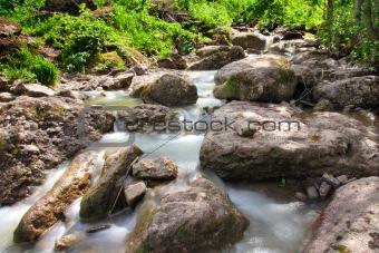 waterfall in summer woods