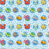 cartoon Aquarium animal seamless pattern
