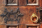 Vintage wooden door with golden doorhandle.