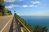 Highway in the mountains along Mediterranean Sea.