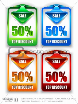 Stylish arrow sale tag over discount  panel