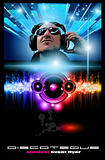 Disco Music Flyer with Disk Jockey