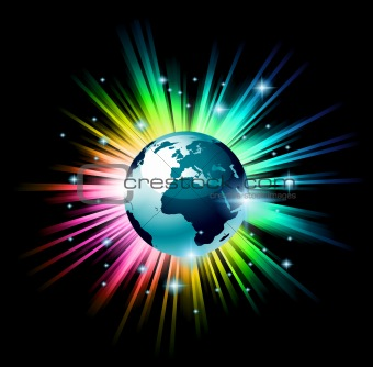 Globe 3D illustration with a rainbow light explosion 