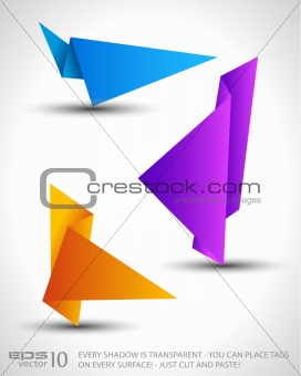 Origami triangle style speech Banner