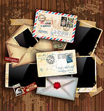 Vintage composition with postage design elements 