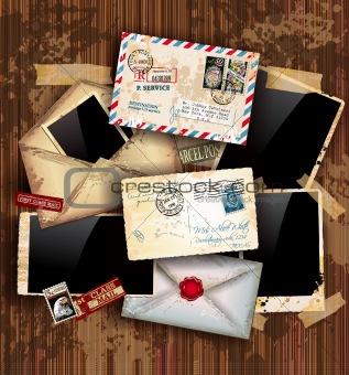Vintage composition with postage design elements