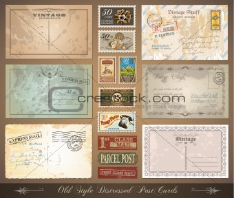 Old style distressed vintage postcards