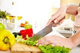 Cutting lettuce