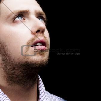 Emotional young man portrait