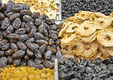 Dates and dried pineapple pieces at the arabic market