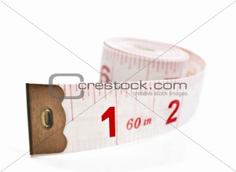 White and red tape measure on a white background