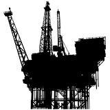 Offshore oil platform silhouette