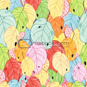 texture of the bright colored leaves