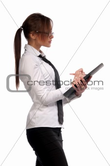 beautiful girl secretary with glasses
