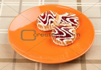Three cookies on a plate