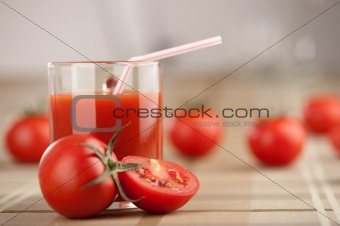 fresh tomato with juice