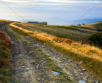 autumn mountain farm view