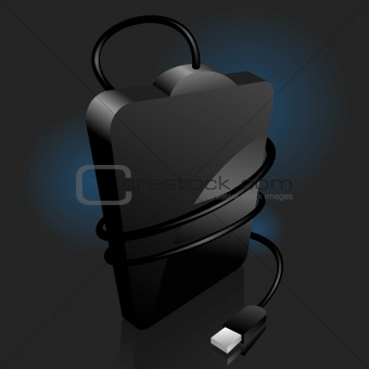 iconic vector illustration of a black portable hard disc