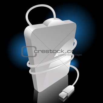 iconic vector illustration of a white portable hard disc