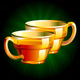 illustration of a shiny and transparent tea cup