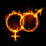 Man and woman burning symbol