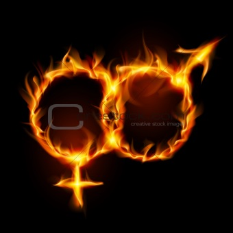 Man and woman burning symbol