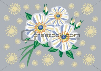 Abstract white flowers with background