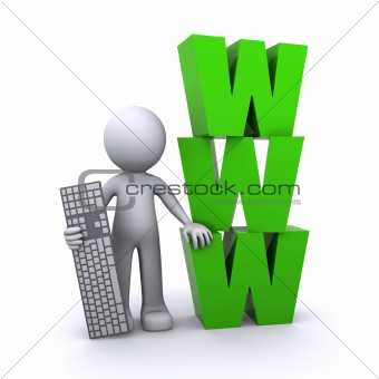 3D guy with keyboard and www on the background