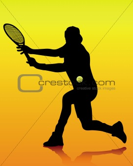 black silhouette of a tennis player