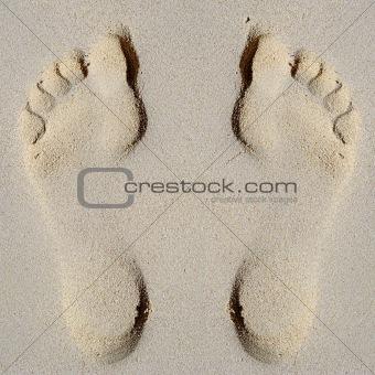 Footprints in sand on beach
