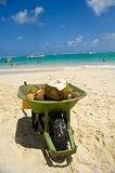Coconut drink in wheelbarrow on beach