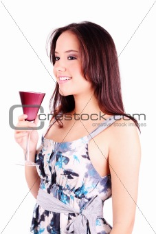 Beautiful woman holding a cup of martini