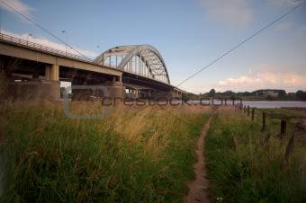 Bridge crossing river Lek
