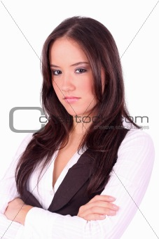 Lady with angry face on a white background
