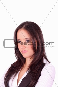 Portrait of an attractive young woman with pretty eyes.