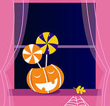 Pumpkin head or Jacks o' lantern, Candy, Window