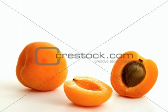Apricot on white ground