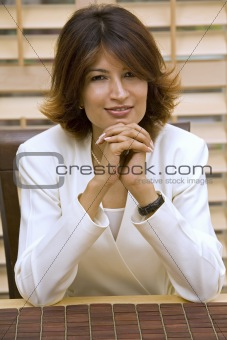 business woman wearing white suit