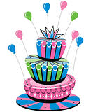 vector colorful birthday cake