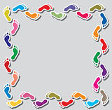 vector background illustration of colorful footprints border