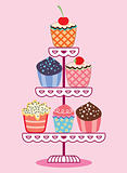 vector set of fruit and chocolate cupcakes on a stand