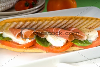 panini caprese and parma ham