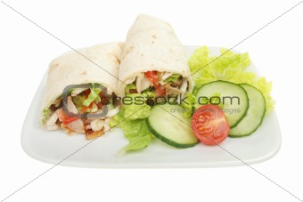 Bread wraps and salad
