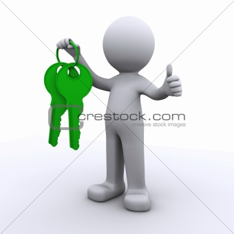 3d human with keys in hand