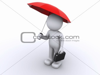 3d character with umbrella