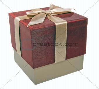 closed gift box with a gold ribbon