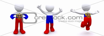 3d character textured with  flag of Russia
