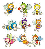 cartoon bee boy icon set